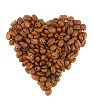 coffe beans: Coffe beans heart isolated on white background
