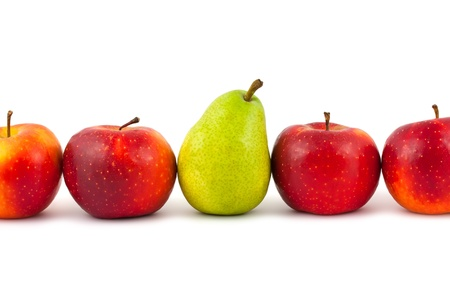 Line of fruits - pear and apples on white background photo