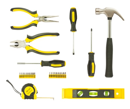 set of different tools isolated on white background photo