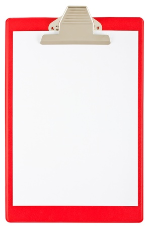 blank red clipboard isolated on white background photo