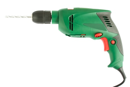 gimlet: Green electric drill isolated on white background Stock Photo
