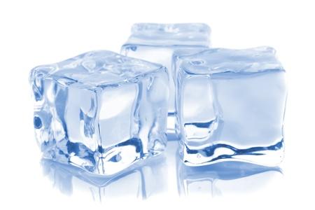Three ice cubes isolated on white background photo