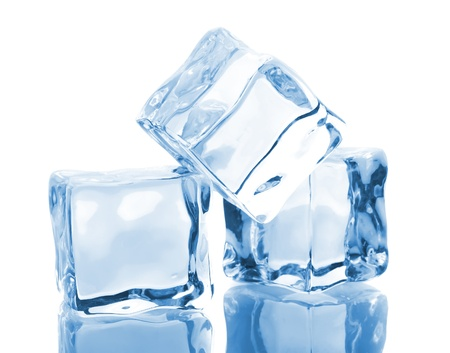 Three blue ice cubes isolated on white background photo