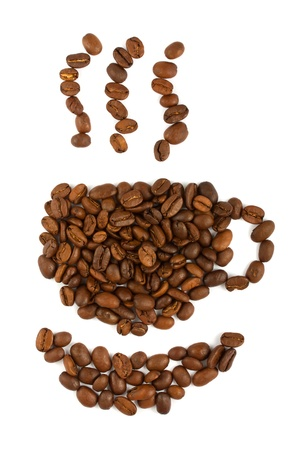 Coffee beans aranged as a cup on white background  photo
