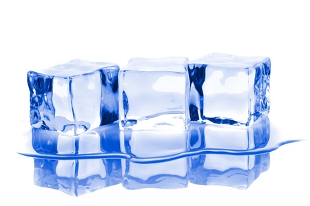 Three ice cubes with water isolated on white background photo