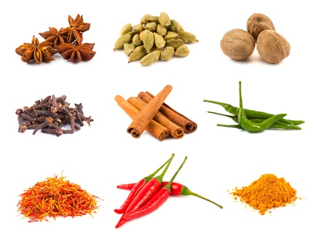 Collection of various spices isolated on white background photo