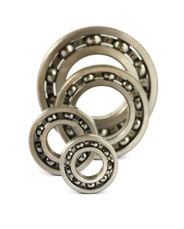 spare parts: Steel ball bearings isolated on a white background