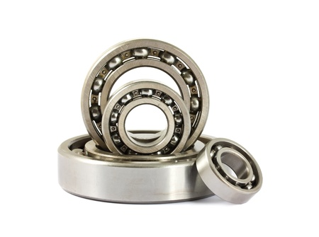 Steel ball bearings isolated on a white background