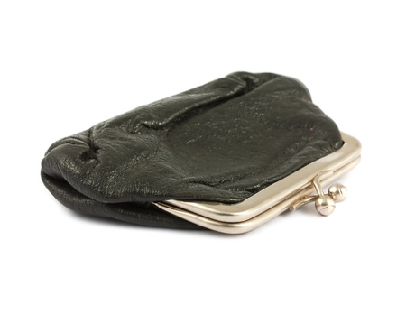 Old black closed purse isolated on white background Stock Photo - 10533431