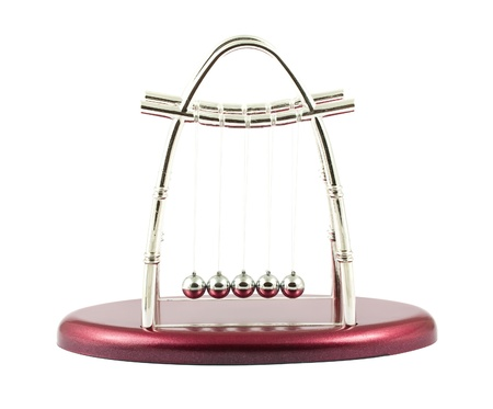 swaying: Newtons Cradle isolated over a white background
