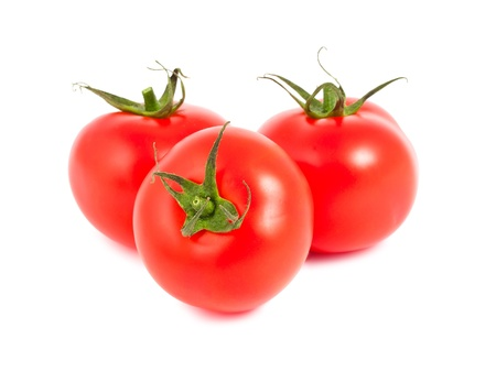 three objects: Three ripe red tomatoes isolated on white background