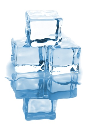 refrigerate: Three ice cubes with water isolated on white background