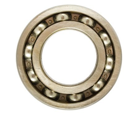 Single steel ball bearing isolated on a white background photo