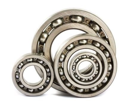 steel balls: Four steel ball bearings isolated on a white background