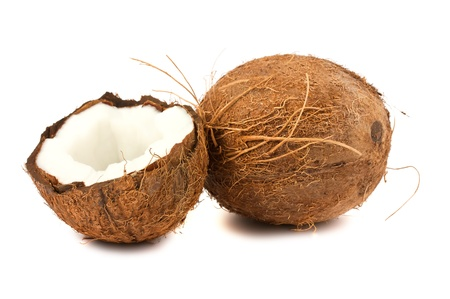 Fresh full and half of coconut isolated on white background