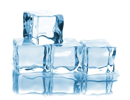 Four ice cubes with reflection isolated on white background photo