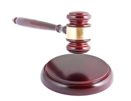 Wooden gavel isolated on white background photo