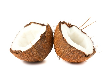 Two halves of coconut isolated on white background photo