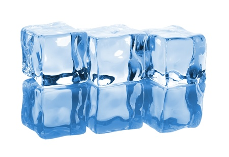 Three ice cubes with reflection isolated on white background Stock Photo - 10984921