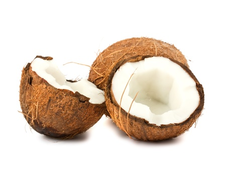 Fresh full and two halves of coconut isolated on white background