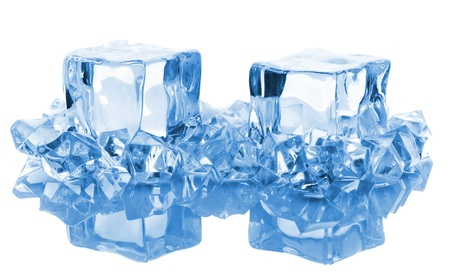 blocks of ice with reflection isolated on white background photo