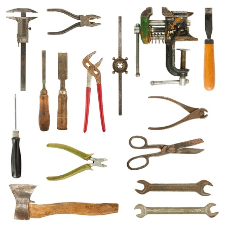 plier: Old used tools collection isolated on white background Stock Photo