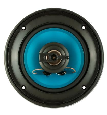 Blue loudspeaker isolated on white background photo