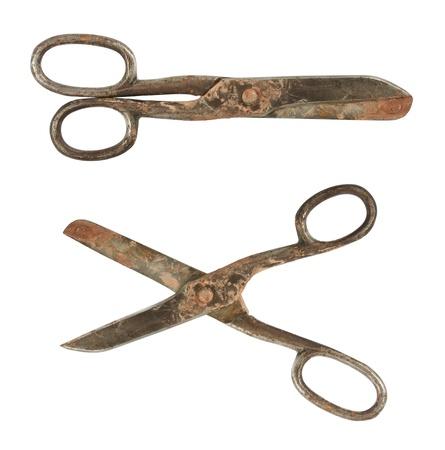 antique scissors: Vecchie forbici sartoriali utilizzate isolato su sfondo bianco