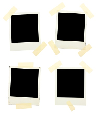 Photos with sticky ribbons isolated on a white background