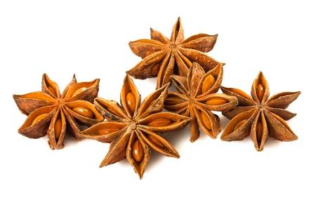 badiane: Group of anise stars isolated on white background