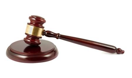 prosecutor: Wooden brown gavel on white background