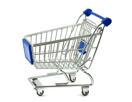 Metal shopping cart isolated on white background photo