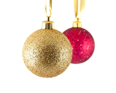 golden: Golden and red christmas balls isolated on white background