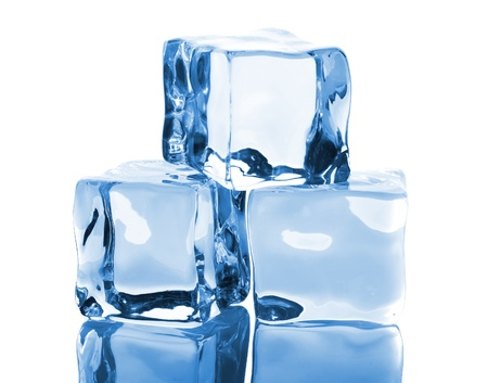 Three ice cubes with reflection isolated on white background photo