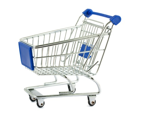 Metal shopping cart isolated on white background Stock Photo - 11456574