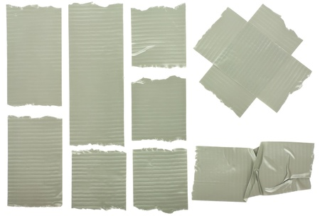 Different fragments of the insulated tape isolated on white  Stock Photo