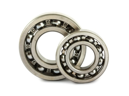 Two ball bearings isolated on white background Stock Photo - 11478136