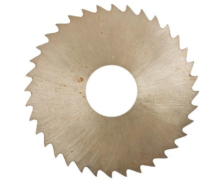 blade cut: Circular saw blade for wood isolated on white background
