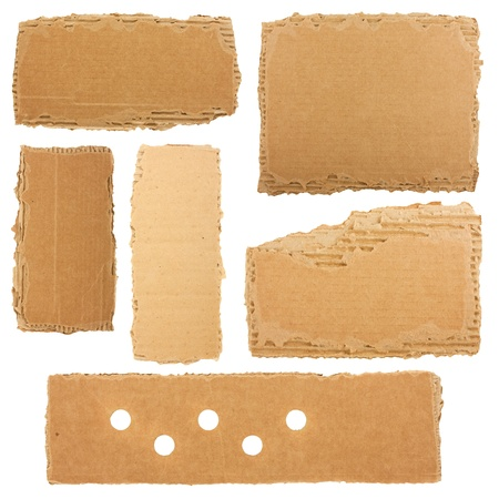 Collection of a cardboard pieces isolated on white background photo