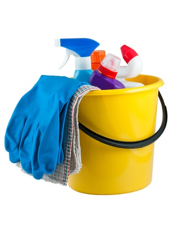 cleaning equipment: Yellow bucket with cleaning supplies isolated on white background