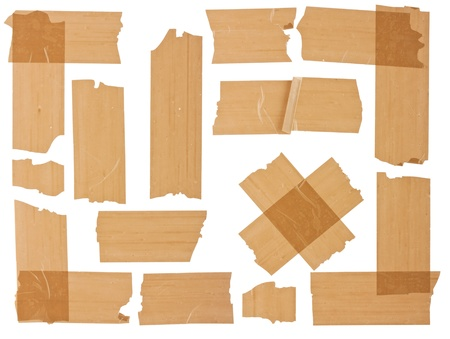 messed: Collection of different fragments of the brown scotch on white background