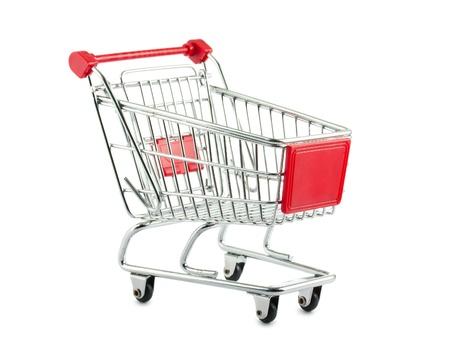 Metal shopping cart isolated on white background Stock Photo - 11733225