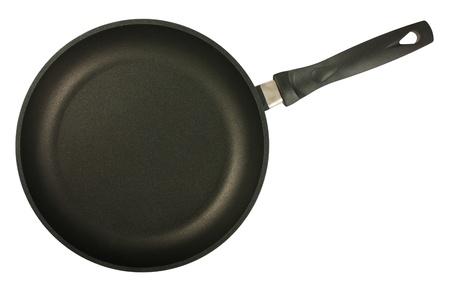 steel pan: Sartén negro sobre fondo blanco. Vista desde arriba.