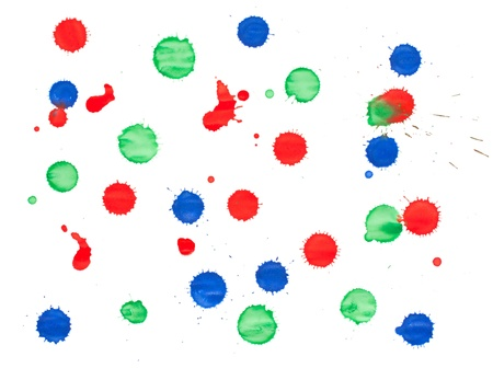 Set of red, green and blue blots isolated on white background photo
