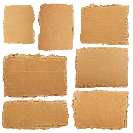 torned: Collection of a cardboard pieces isolated on white background Stock Photo