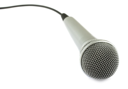 Silver microphone isolated on white background Stock Photo - 11733272