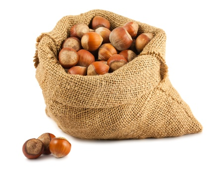 unbroken: Canvas bag with hazelnuts isolated on white background Stock Photo