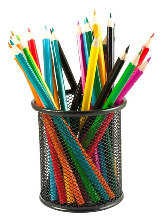 pencil holder: Colorful pencils in holder isolated on white background  Stock Photo