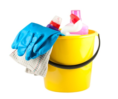 Yellow bucket with cleaning supplies isolated on white background Stock Photo - 12340964