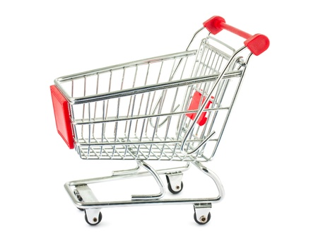 shopping trolleys: Single empty shopping cart isolated on white background Stock Photo